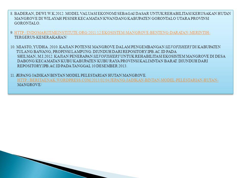 8. BADERAN, DEWI.W.K.2012. MODEL VALUASI EKONOMI SEBAGAI DASAR UNTUK REHABILITASI KERUSAKAN HUTAN