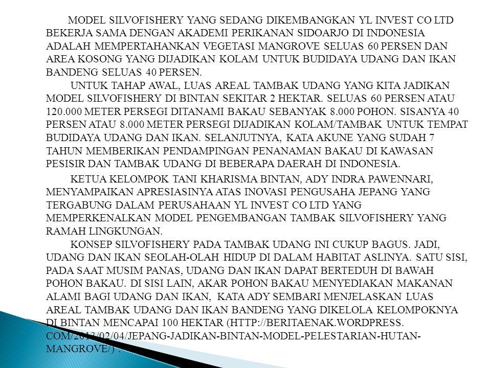 MODEL SILVOFISHERY YANG SEDANG DIKEMBANGKAN YL INVEST CO LTD BEKERJA SAMA DENGAN AKADEMI PERIKANAN SIDOARJO DI INDONESIA ADALAH MEMPERTAHANKAN VEGETASI MANGROVE SELUAS 60 PERSEN DAN AREA KOSONG YANG DIJADIKAN KOLAM UNTUK BUDIDAYA UDANG DAN IKAN BANDENG SELUAS 40 PERSEN.