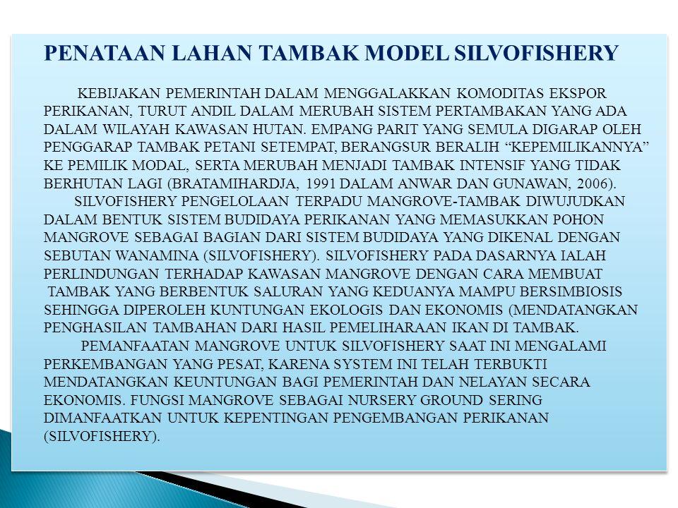 PENATAAN LAHAN TAMBAK MODEL SILVOFISHERY