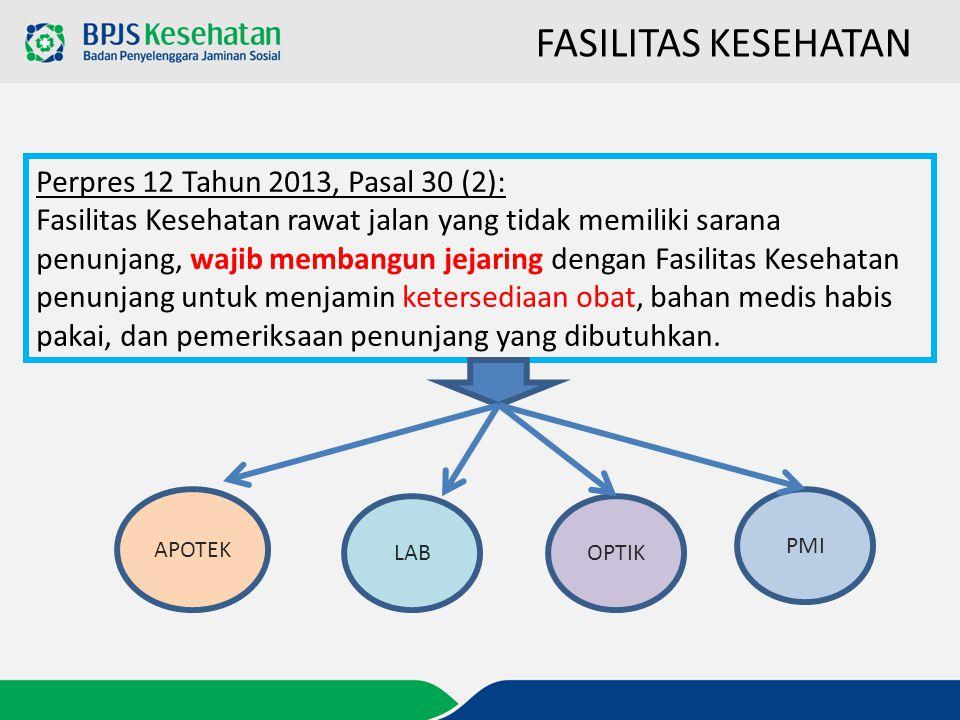 FASILITAS KESEHATAN Perpres 12 Tahun 2013, Pasal 30 (2):