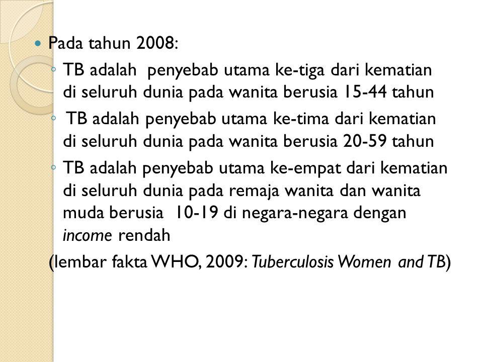 Pada tahun 2008: TB adalah penyebab utama ke-tiga dari kematian di seluruh dunia pada wanita berusia 15-44 tahun.