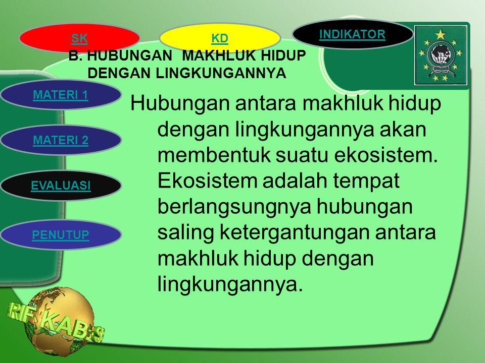 B. HUBUNGAN MAKHLUK HIDUP DENGAN LINGKUNGANNYA