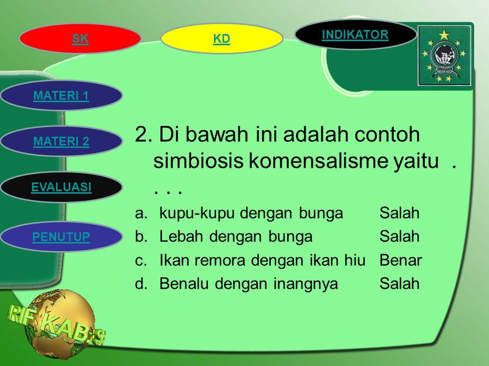 2. Di bawah ini adalah contoh simbiosis komensalisme yaitu . . . .