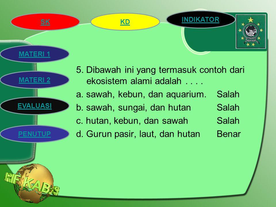 5. Dibawah ini yang termasuk contoh dari ekosistem alami adalah. a