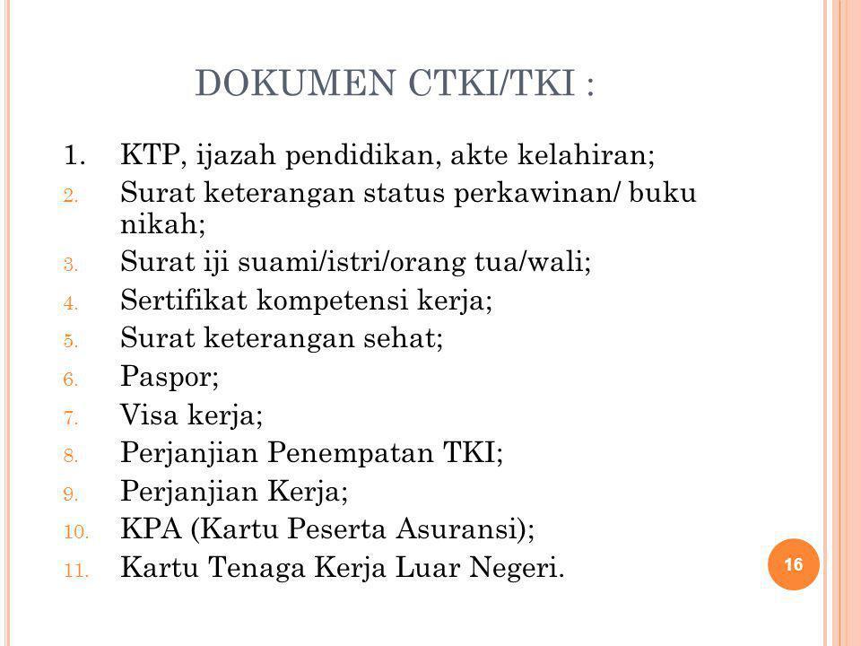 DOKUMEN CTKI/TKI : 1. KTP, ijazah pendidikan, akte kelahiran;