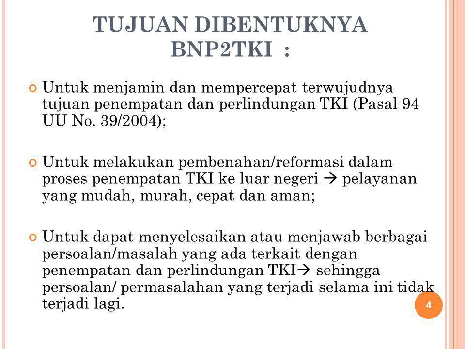 TUJUAN DIBENTUKNYA BNP2TKI :