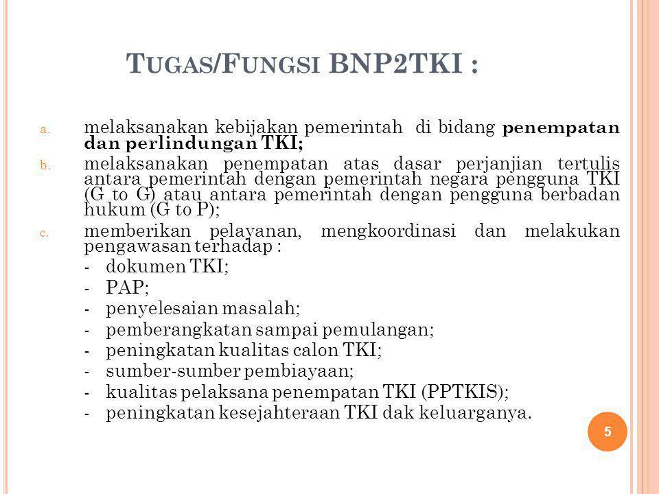 Tugas/Fungsi BNP2TKI : melaksanakan kebijakan pemerintah di bidang penempatan dan perlindungan TKI;