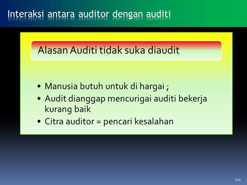 Alasan Auditi tidak suka diaudit