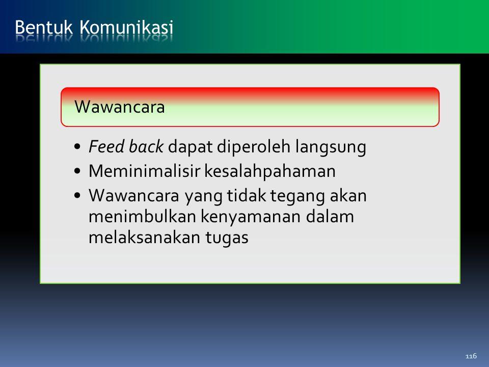Feed back dapat diperoleh langsung Meminimalisir kesalahpahaman