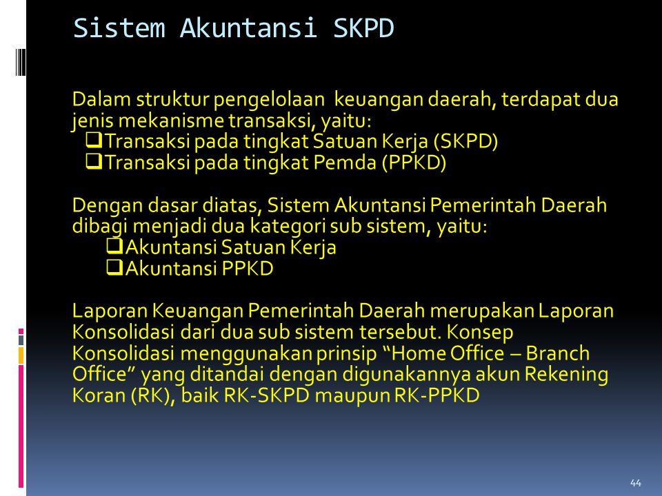 Sistem Akuntansi SKPD Dalam struktur pengelolaan keuangan daerah, terdapat dua jenis mekanisme transaksi, yaitu: