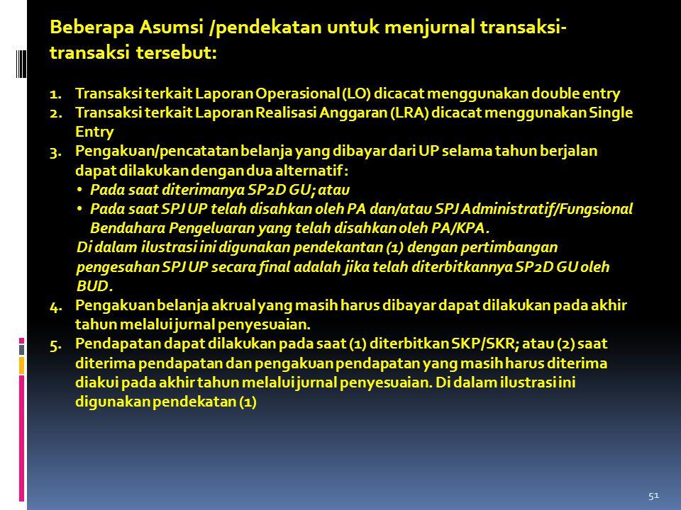 Beberapa Asumsi /pendekatan untuk menjurnal transaksi-transaksi tersebut: