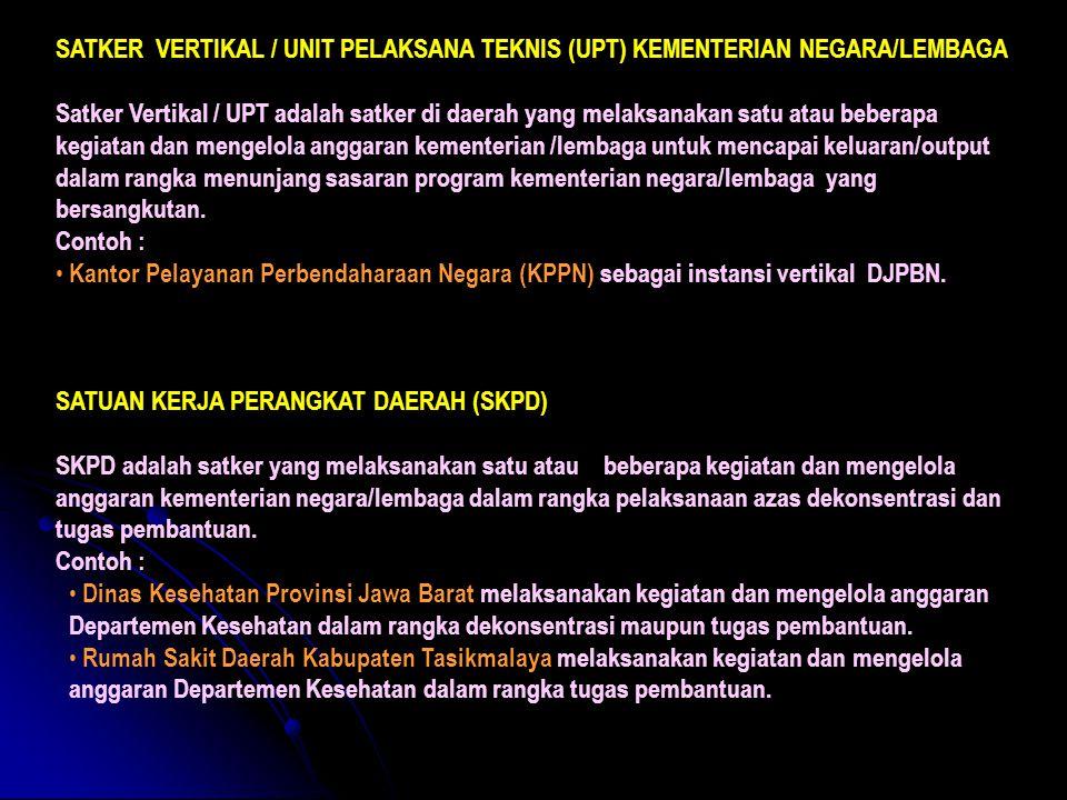 SATKER VERTIKAL / UNIT PELAKSANA TEKNIS (UPT) KEMENTERIAN NEGARA/LEMBAGA