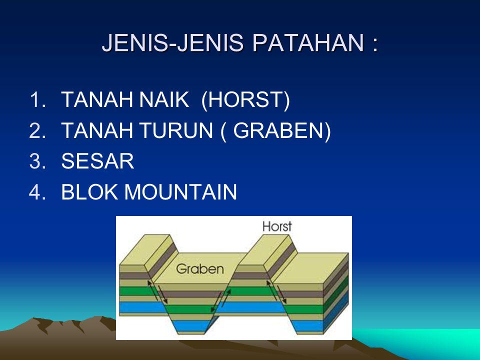 JENIS-JENIS PATAHAN : TANAH NAIK (HORST) TANAH TURUN ( GRABEN) SESAR