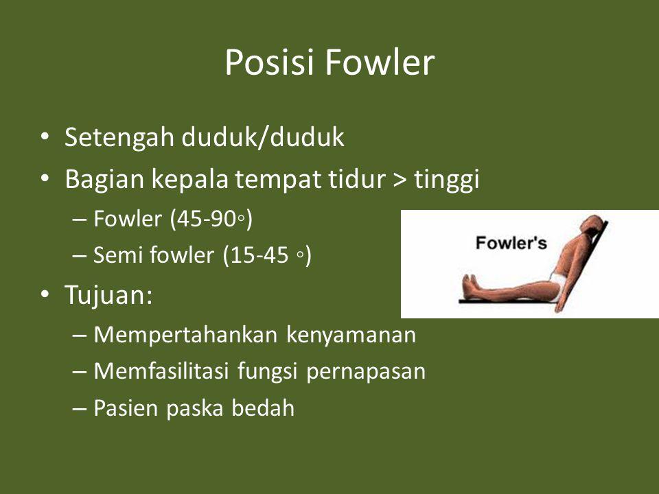 Posisi Fowler Setengah duduk/duduk