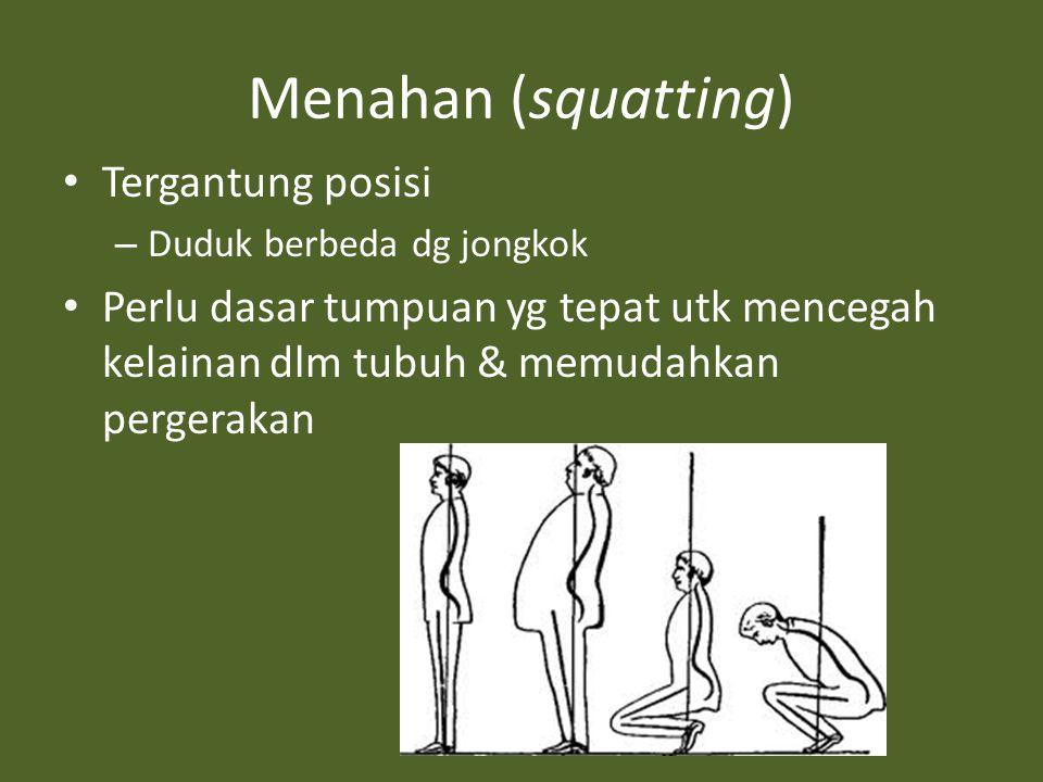 Menahan (squatting) Tergantung posisi