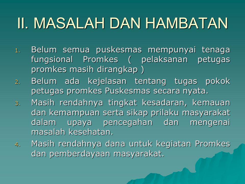 II. MASALAH DAN HAMBATAN