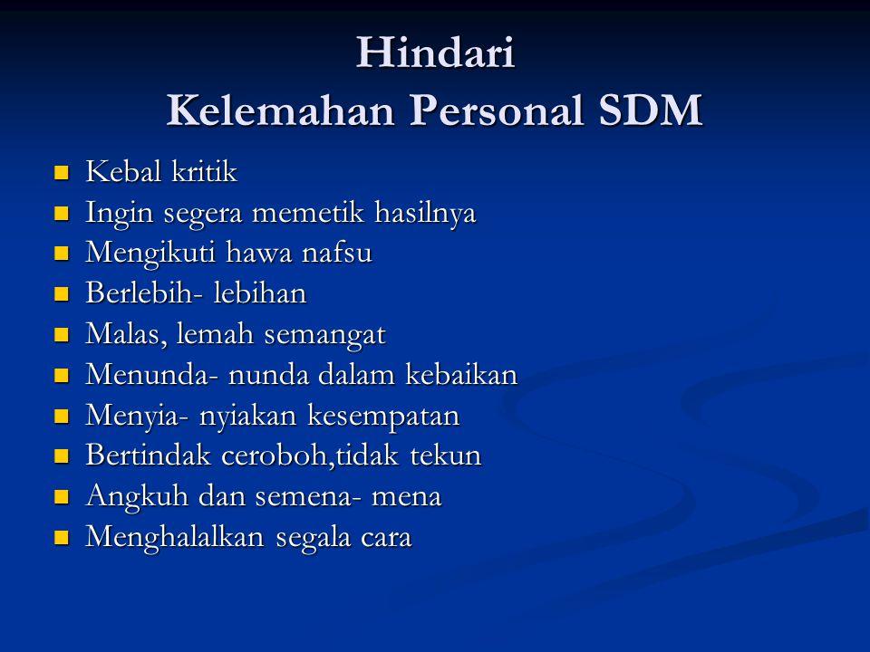 Hindari Kelemahan Personal SDM