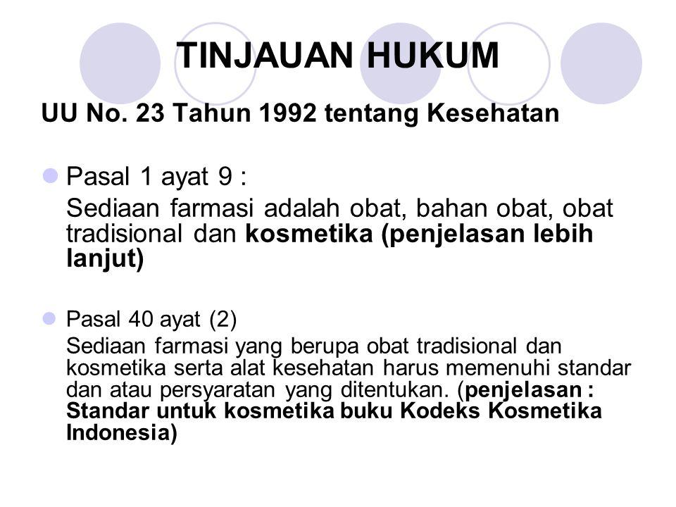 TINJAUAN HUKUM UU No. 23 Tahun 1992 tentang Kesehatan Pasal 1 ayat 9 :