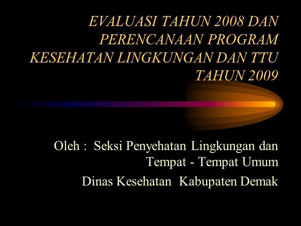 EVALUASI TAHUN 2008 DAN PERENCANAAN PROGRAM KESEHATAN LINGKUNGAN DAN TTU TAHUN 2009