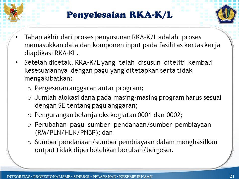 Penyelesaian RKA-K/L