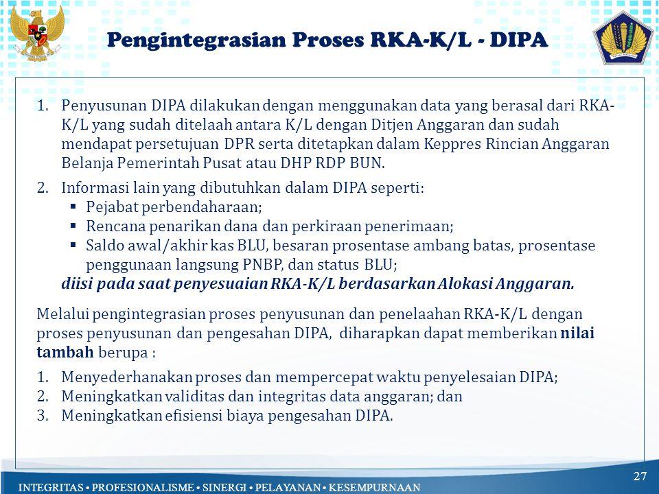 Pengintegrasian Proses RKA-K/L - DIPA