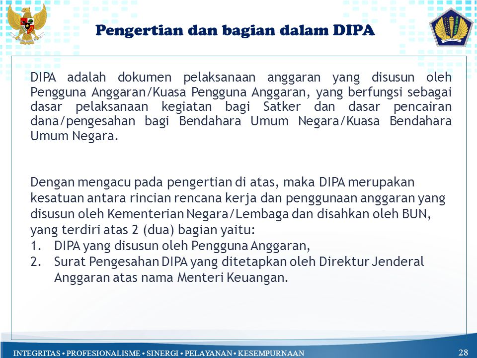 Pengertian dan bagian dalam DIPA