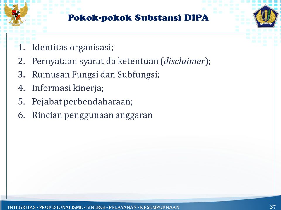 Pokok-pokok Substansi DIPA
