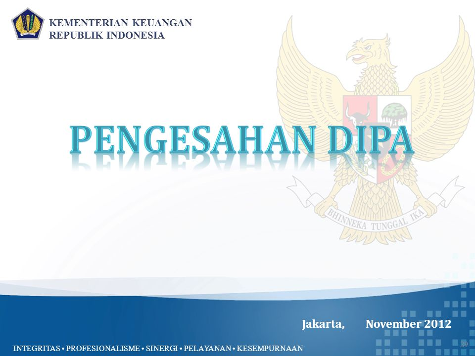 Pengesahan DIPA Jakarta, November 2012