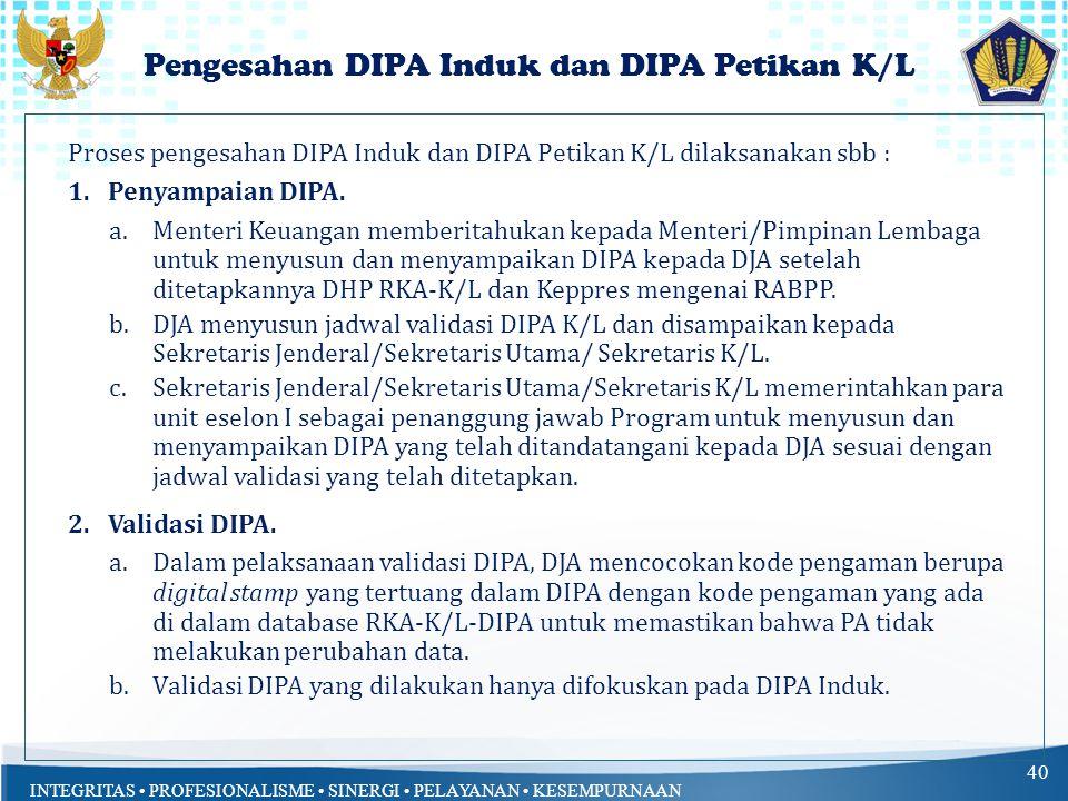 Pengesahan DIPA Induk dan DIPA Petikan K/L