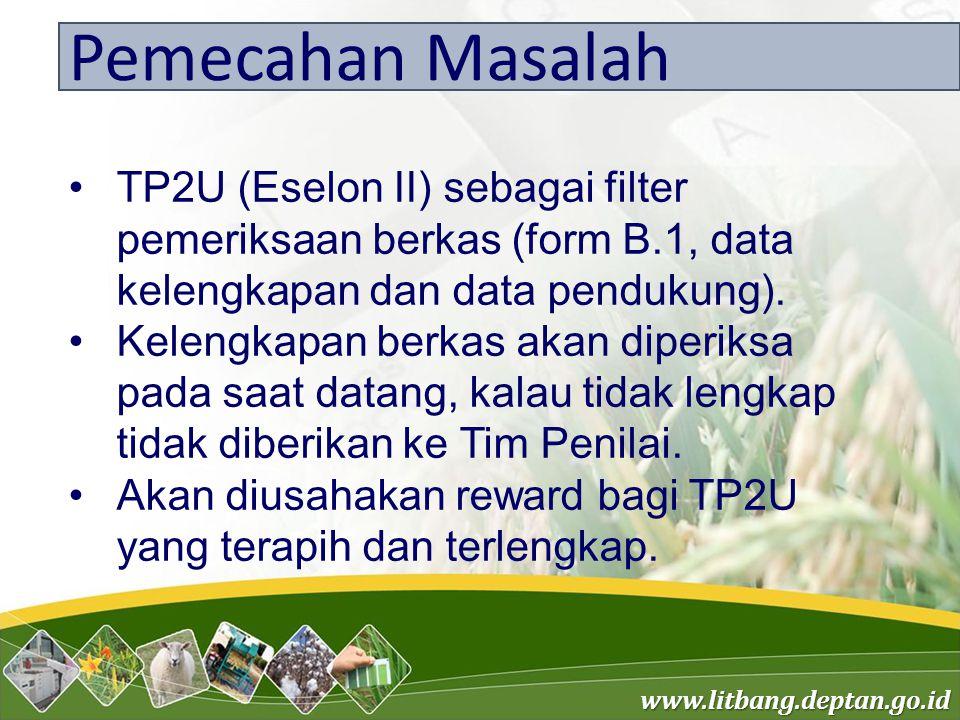 Pemecahan Masalah TP2U (Eselon II) sebagai filter pemeriksaan berkas (form B.1, data kelengkapan dan data pendukung).