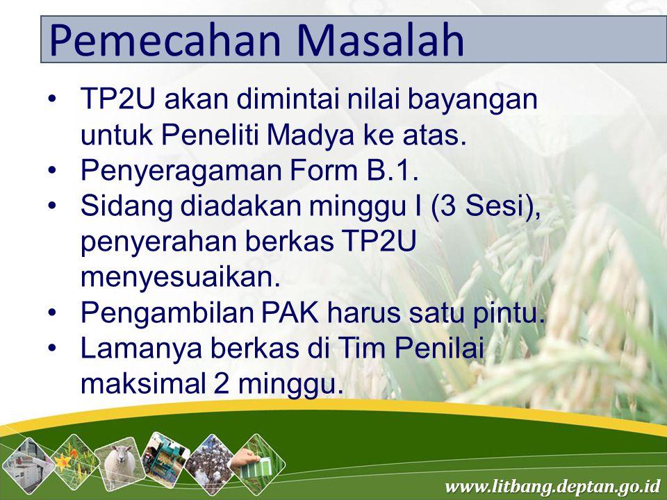 Pemecahan Masalah TP2U akan dimintai nilai bayangan untuk Peneliti Madya ke atas. Penyeragaman Form B.1.