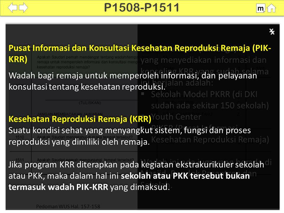 P1508-P1511 m. Pusat Informasi dan Konsultasi Kesehatan Reproduksi Remaja (PIK- KRR)