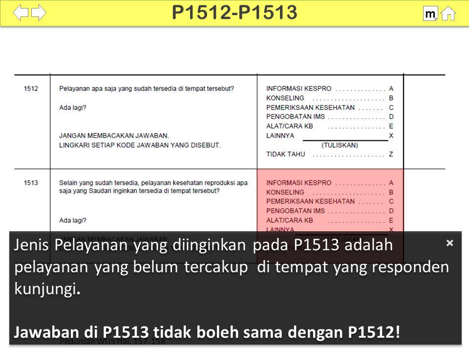 P1512-P1513 m. Jenis Pelayanan yang diinginkan pada P1513 adalah pelayanan yang belum tercakup di tempat yang responden kunjungi.