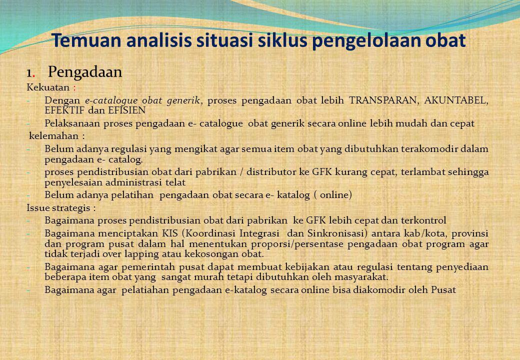 Temuan analisis situasi siklus pengelolaan obat