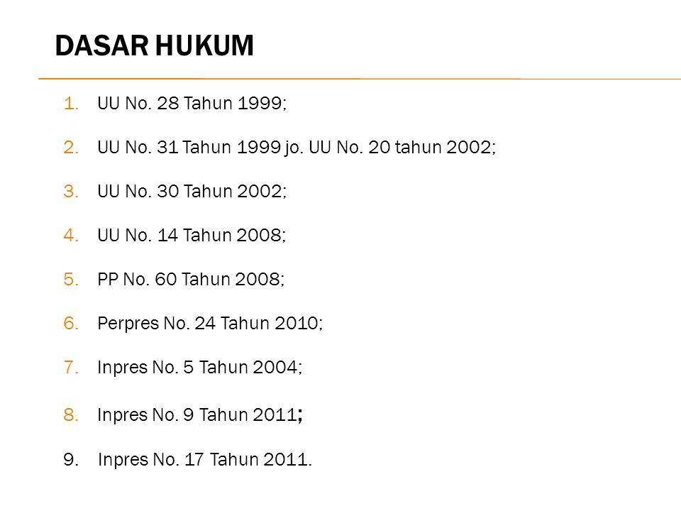 DASAR HUKUM UU No. 28 Tahun 1999;
