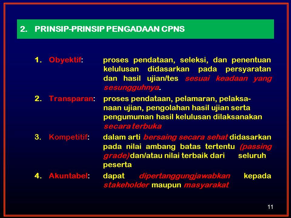 PRINSIP-PRINSIP PENGADAAN CPNS