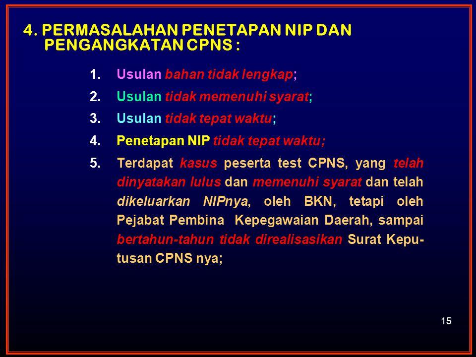 4. Permasalahan Penetapan NIP dan Pengangkatan CPNS :