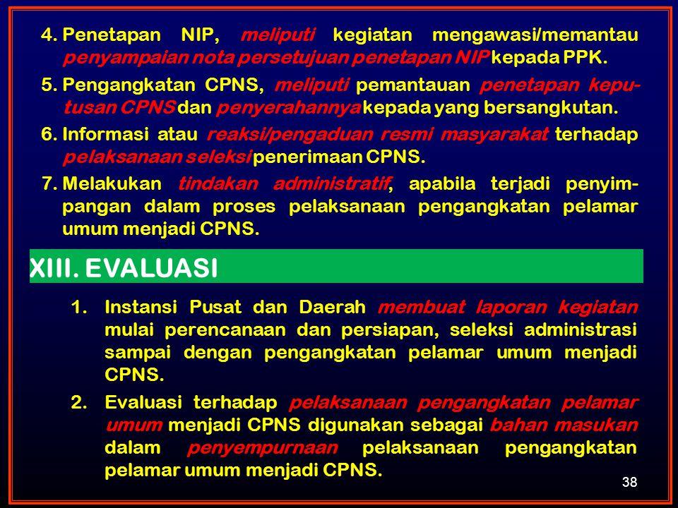 Penetapan NIP, meliputi kegiatan mengawasi/memantau penyampaian nota persetujuan penetapan NIP kepada PPK.