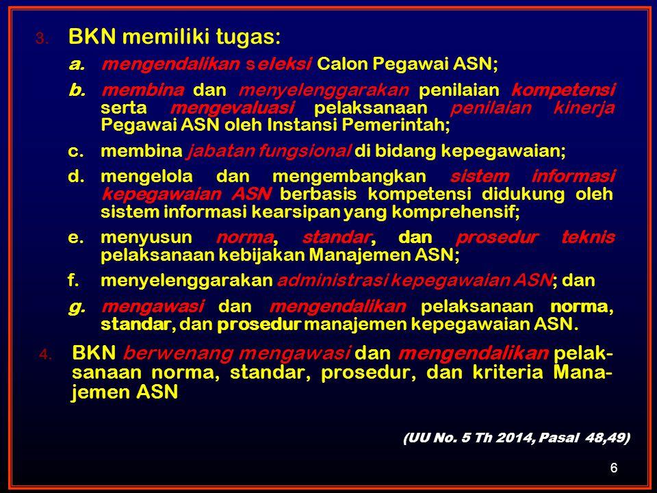 BKN memiliki tugas: mengendalikan seleksi Calon Pegawai ASN;