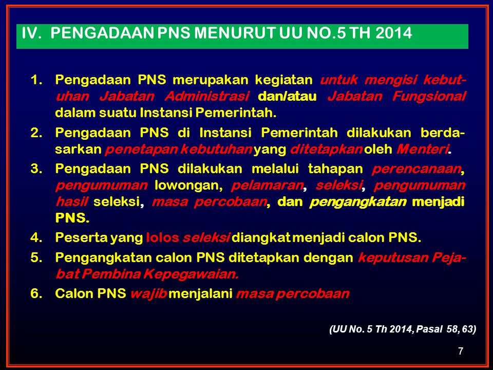 iv. Pengadaan PNS MENURUT UU NO.5 TH 2014