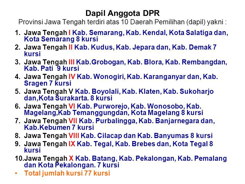 Dapil Anggota DPR Provinsi Jawa Tengah terdiri atas 10 Daerah Pemilihan (dapil) yakni :