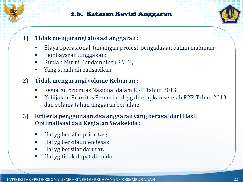 2.b. Batasan Revisi Anggaran