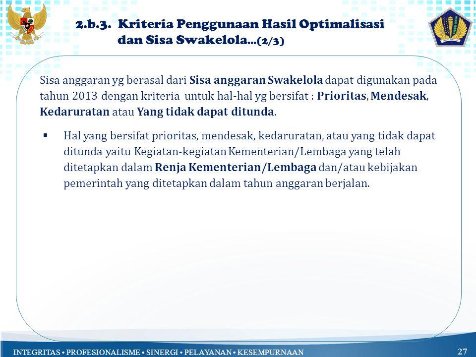 2. b. 3. Kriteria Penggunaan Hasil Optimalisasi dan Sisa Swakelola