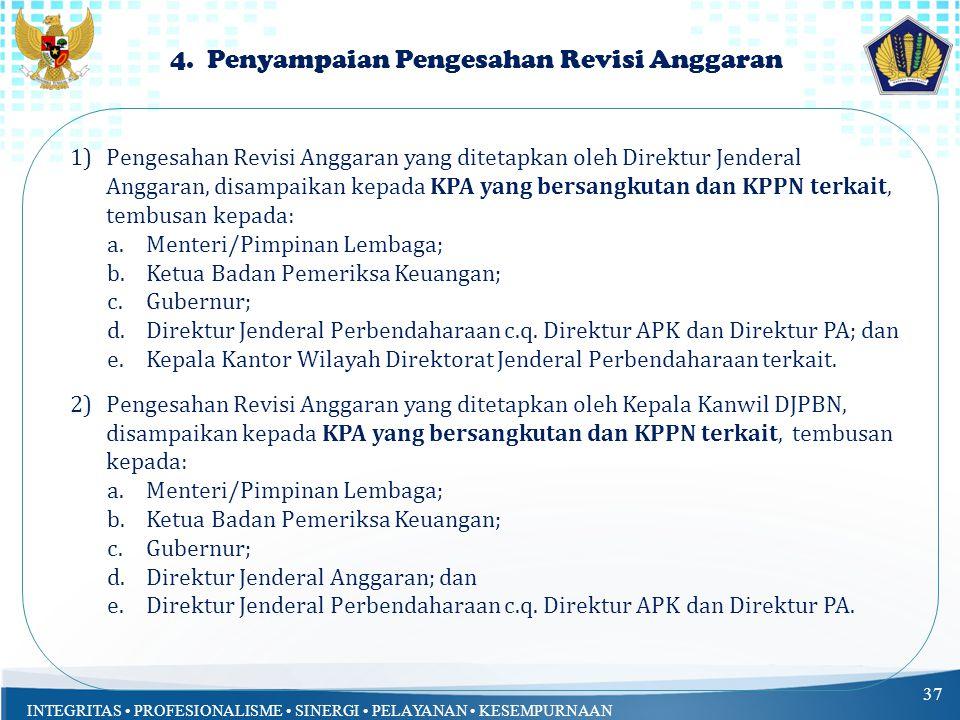 4. Penyampaian Pengesahan Revisi Anggaran