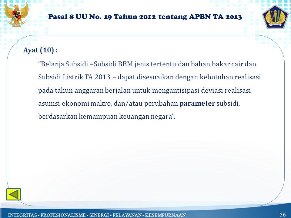 Pasal 8 UU No. 19 Tahun 2012 tentang APBN TA 2013