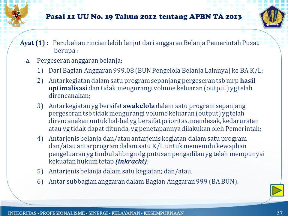 Pasal 11 UU No. 19 Tahun 2012 tentang APBN TA 2013