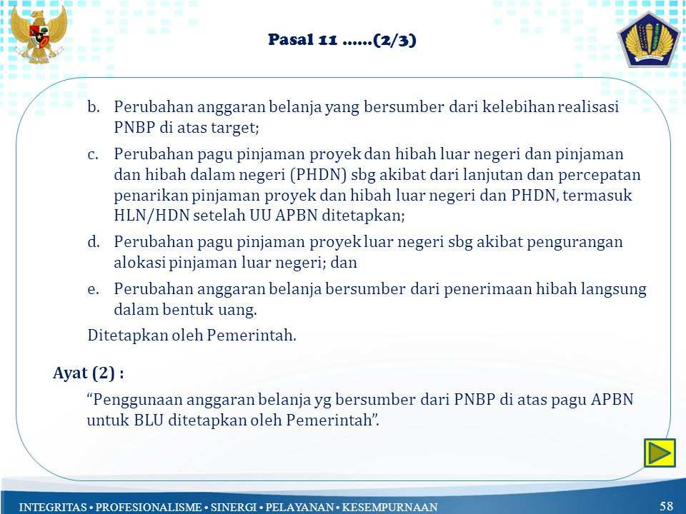 Pasal 11 ......(2/3) Perubahan anggaran belanja yang bersumber dari kelebihan realisasi PNBP di atas target;