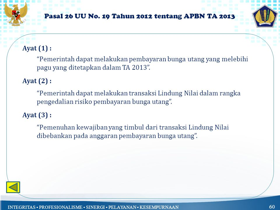 Pasal 26 UU No. 19 Tahun 2012 tentang APBN TA 2013