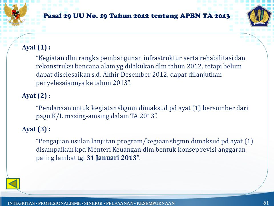 Pasal 29 UU No. 19 Tahun 2012 tentang APBN TA 2013