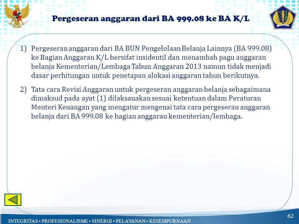 Pergeseran anggaran dari BA 999.08 ke BA K/L